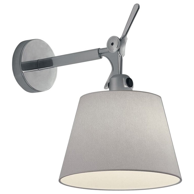 Artemide Tolomeo Large Wall Light with Round Fiber Shade