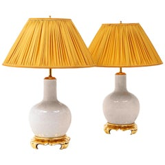 Pair of White Cracked Porcelain Lamps Gilt Wood Stand, circa 1970