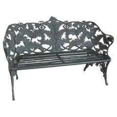 New Green Cast Aluminum Three-Seat Garden or Park Bench