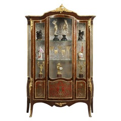 Louis XV Style Serpentine Vitrine with Boulle Marquetry Panels, circa 1880