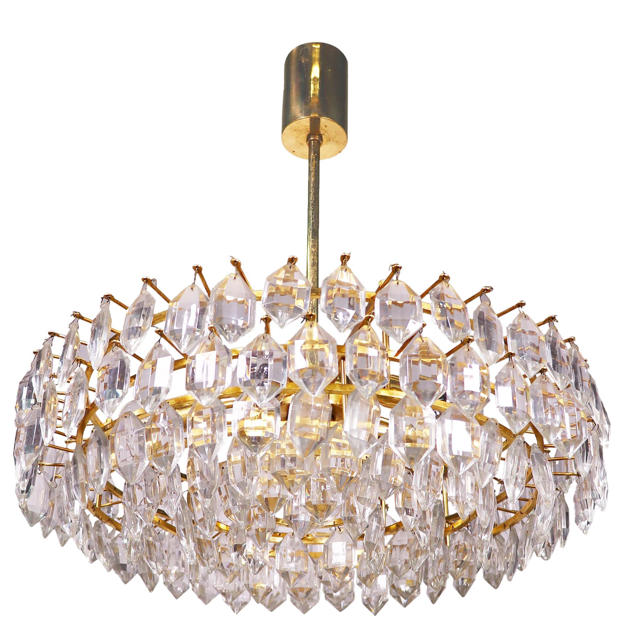 Vienna Lobmeyr / Bakalowits & Sons Large Chandelier Crystal & Brass