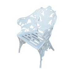 New Green Cast Aluminum Armchair, Garden or Park Bench