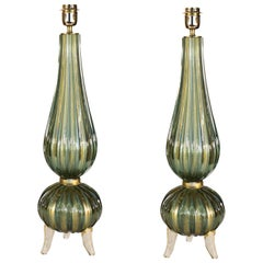 Toso Mid-Century Modern Green Gold Pair of Murano Glass Table Lamps Signed, 1980