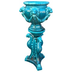 Art Nouveau Vallauris Majolica Jardinière on Stand, Planter by Jerome Massier