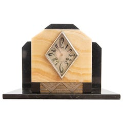 Fine French Art Deco Siena and Black Marble Triangular Dial Clock by Marti