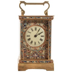 19th Century Fine 8 Day French Brass & Champlevé Timepiece Carriage Clock