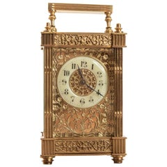 19th Century Rare French 8 Day Brass Cased Carriage Clock