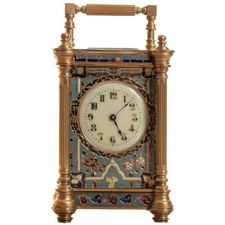 Miniature Fine French 8 Day Timepiece Brass Cased Carriage Clock For Sale