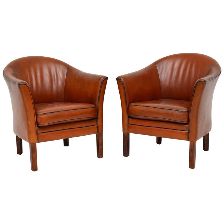 1960s Pair Of Vintage Danish Leather Armchairs By Mogens Hansen At