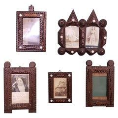 Set of 5 Early 20th Century Tramp Art Picture Frames