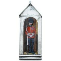 Victorian Silver and Enamel Sentry Box Vesta Case, the Coldstream Guards, 1886