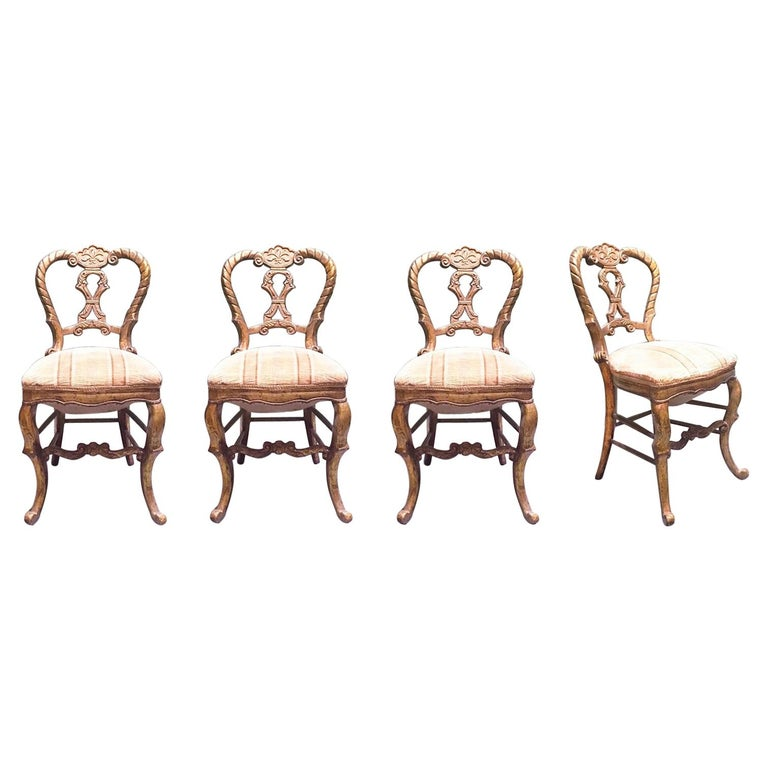 Mid-18th Century Set of Four Italian Upholstered Giltwood Chairs For Sale