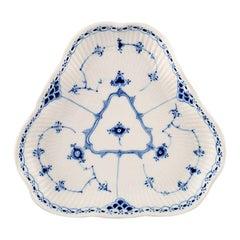 Royal Copenhagen Blue Fluted Half Lace Triangular Dish #1/515