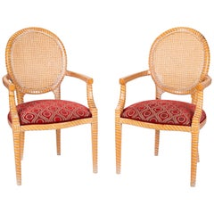 1980s Pair of Spanish Hand Carved Armchairs with Wicker Decorated Backrest