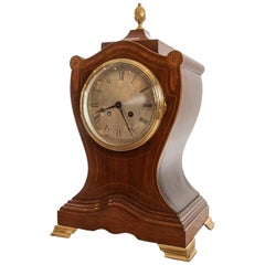 Late 19th Century French 8 Day Striking Mahogany Shield Shaped Mantel Clock.