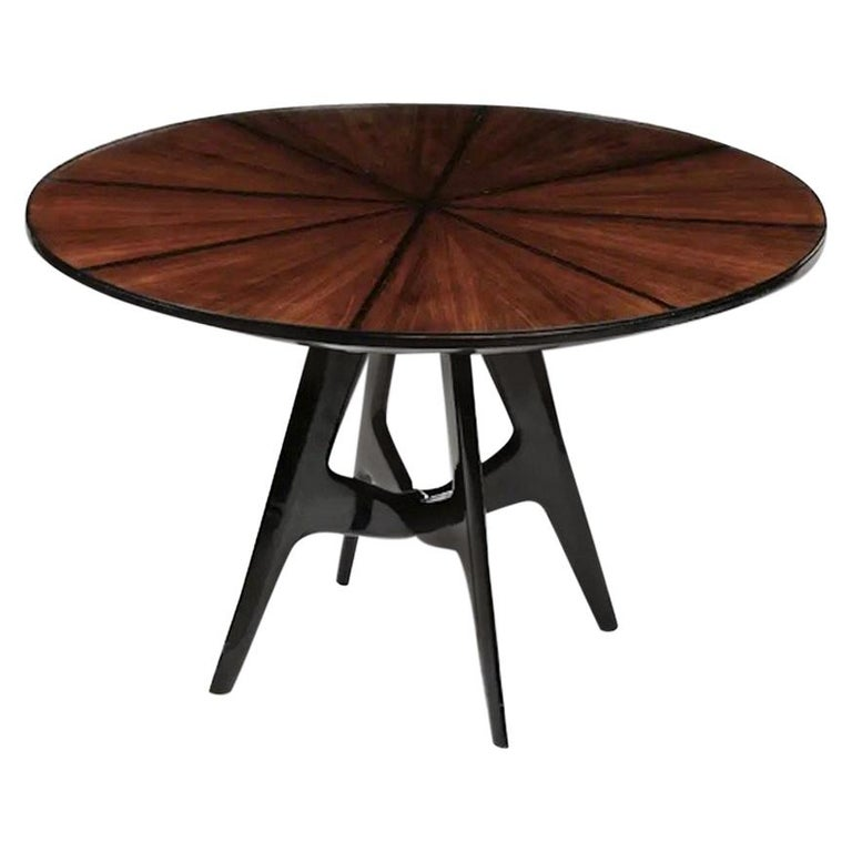 Italian Round Wooden Dining Table with Glass Top For Sale