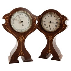 Matching Set of French 8 Day Timepiece Clock and Aneroid Barometer