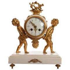 Fine 8 Day Striking Ormolu & White Marble Clock with Cherubs, Late 1800s