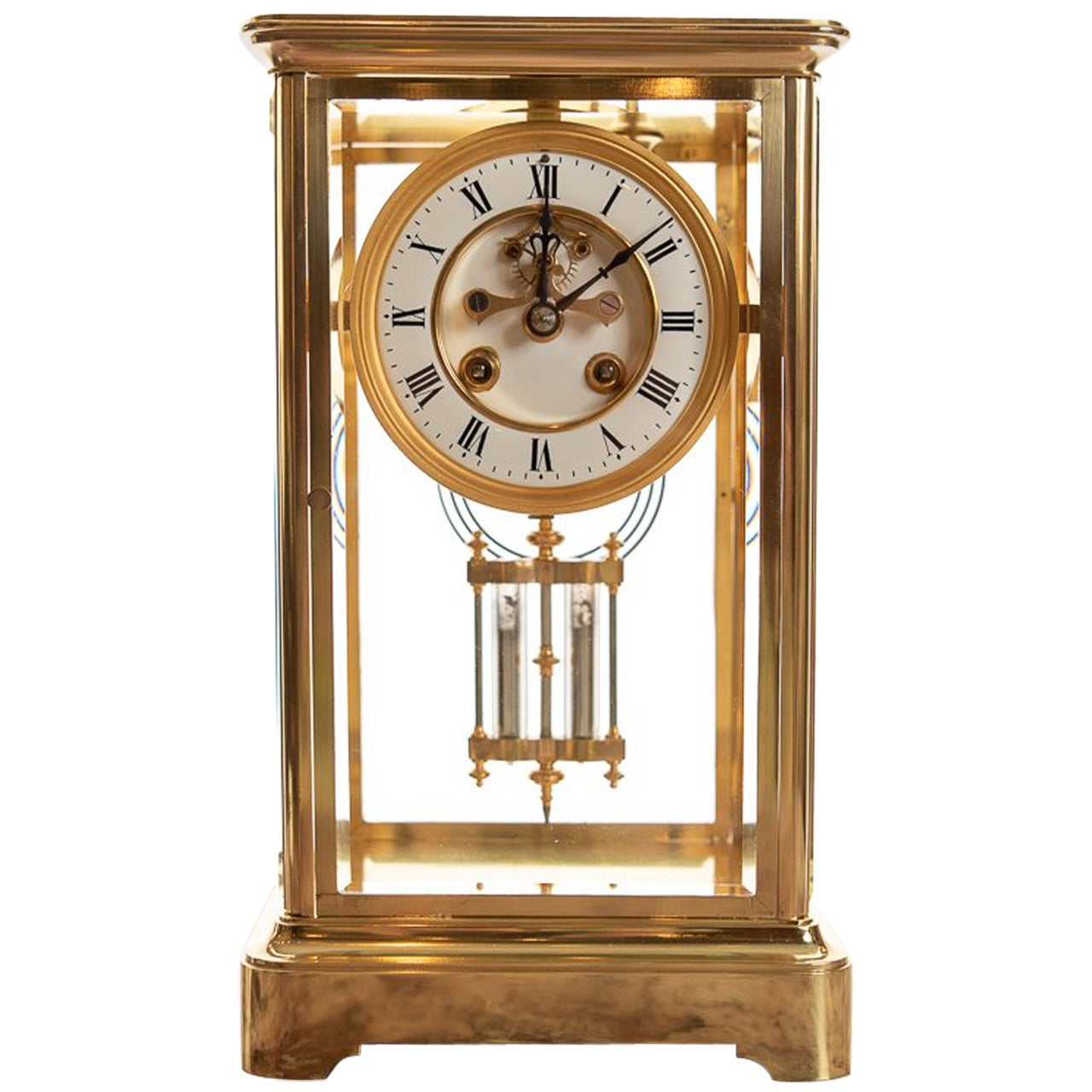 French 8 Day Striking Four Glass Clock by Japy Freres, Paris, Late 19th Century