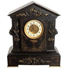 Victorian Black Slate/Marble Clock of Nautical Interest