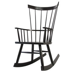 Colt Rocker, Contemporary Windsor Rocking Chair in Ebony Stain on Ash Wood