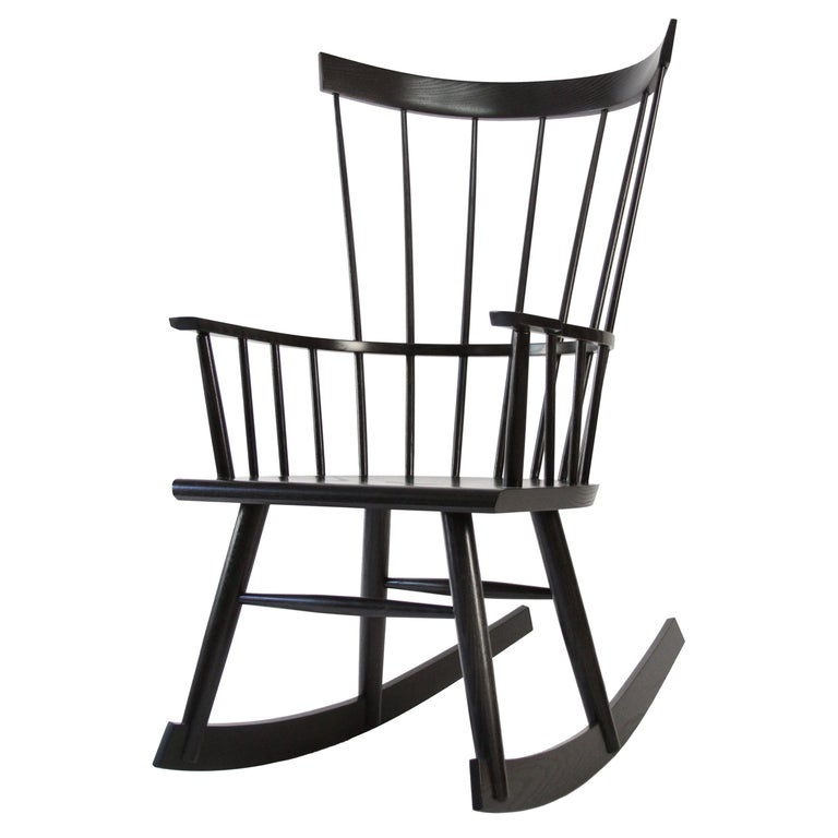 Colt Rocker, Contemporary Windsor Rocking Chair in Ebony Stain on Ash Wood For Sale