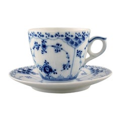 Royal Copenhagen Blue Fluted Half Lace Coffee Cup and Saucer, 5 Sets