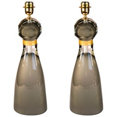 Alberto Donà Mid-Century Modern Grey Pair of Murano Glass Table Lamps, 1992s