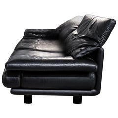Alanda Sofa in Super Soft Black Leather, Paolo Piva for B&B Italia