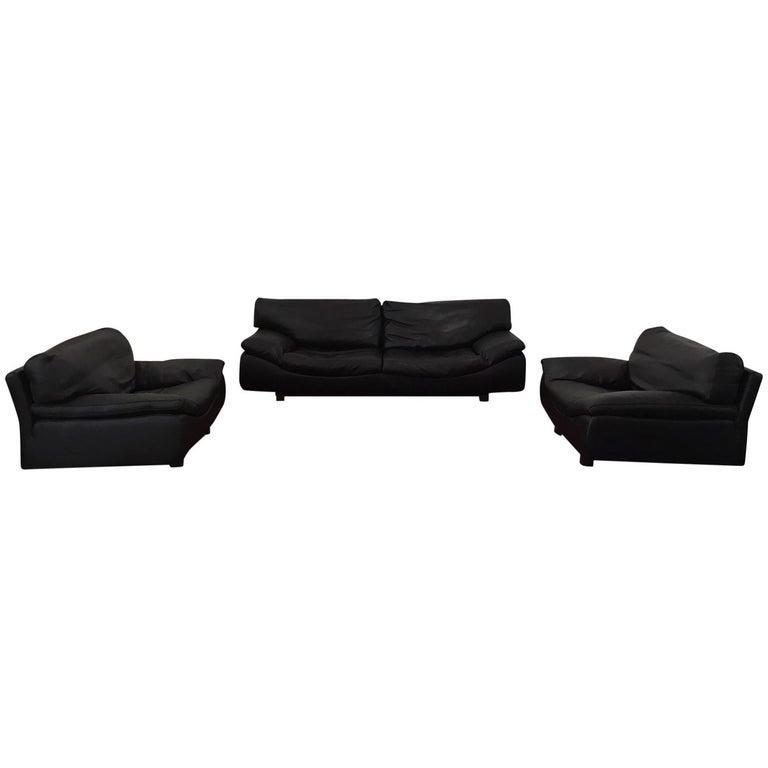 Black Leather Postmodern Modern Roche Bobois Sofa Set Living Room