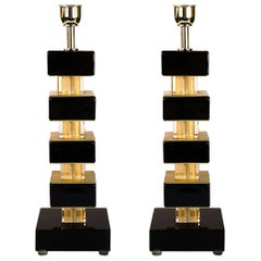 Alberto Donà Black Gold Pair of Italian Murano Glass Table Lamps, 1980
