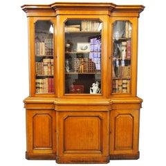 Victorian 3-Door Oak Breakfront Bookcase