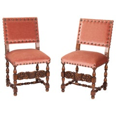 19th Century Pair of French Wooden Chairs Upholstered in Velvet