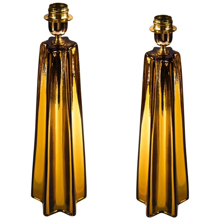 Toso Mid-Century Modern Amber Pair of Murano Glass Table Lamps, 1989 For Sale
