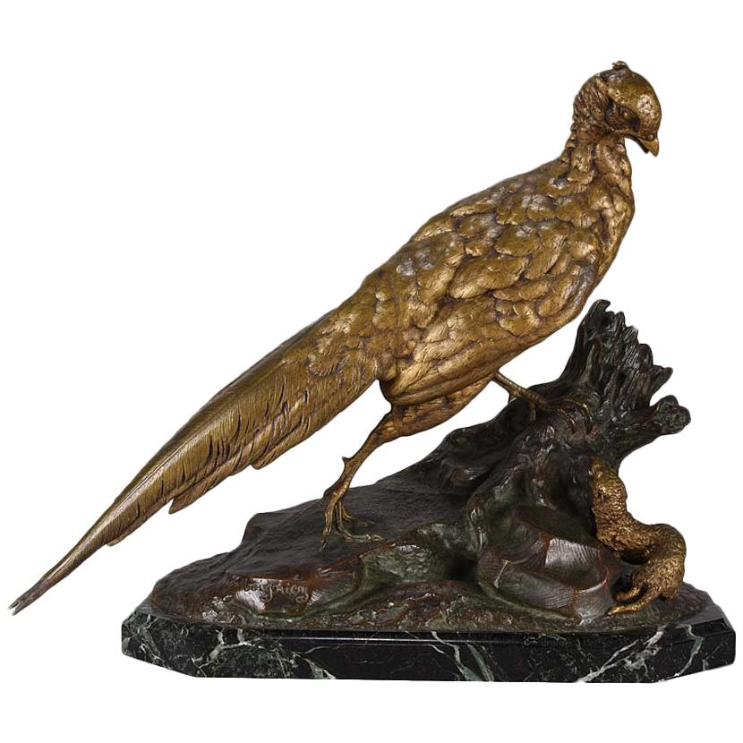 Animalier French Bronze 'Pheasant & Weasel' by Jules Moigniez