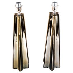 Toso Mid-Century Modern Grey Pair of Murano Glass Table Lamps, 1988