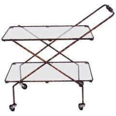 Rare 1950s Brutalist Iron Bar Cart