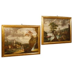 18th Century Oil on Canvas Italian Pair of Paintings Landscapes with Characters