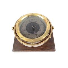 British Compass of the 1940s Brass and Bronze on a Wooden Base