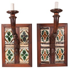 19th Century Pair of Spanish Wall Lamps with 16th Century Cuerda Seca Tiles