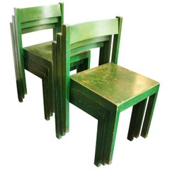 Stackable Green Dining Chairs by Carl Auböck for E. & A. Pollak, Set of 6