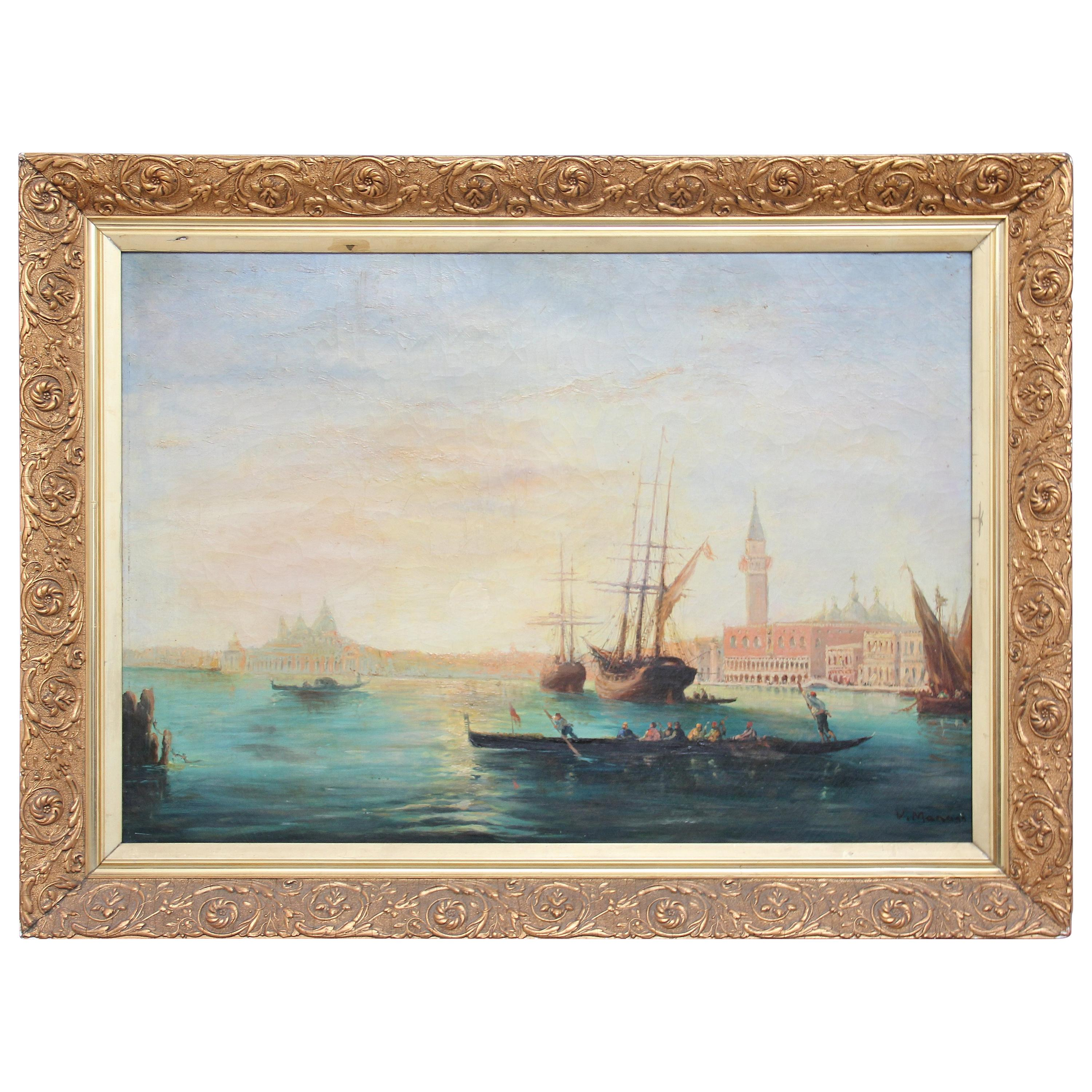 Early 20th Century Oil Painting of the Venetian Lagoon