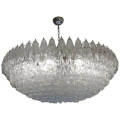 Venini Midcentury Crystal Murano Glass Poliedri Chandelier, Carlo Scarpa, 1990s
