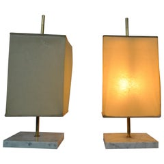 Pair of Brass and Marble Lamp by Jacques Charpentier