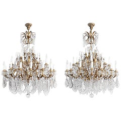 Pair of Louis XV Style Chandeliers in Gilt Brass and Crystal Tassels, circa 1950