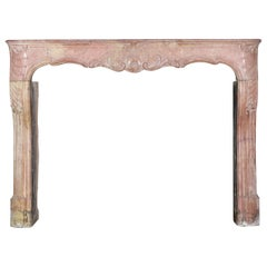 18th Century Impressive French Stone Antique Fireplace Surround
