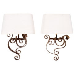 1980s Pair of French Wrought Iron Wall Lamps with Shades