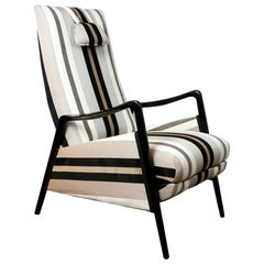 Italian Midcentury Reclinable Lounge Chair in the Style of Gio Ponti