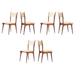 Set of Six Italian Beige Skai and Mahogany Dining Chairs, 1950s
