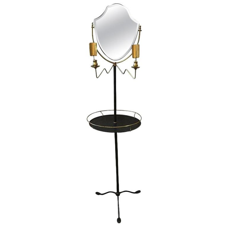 Handsome Brass and Galvanized Metal Standing Shaving Stand For Sale